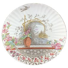 Polychrome RUSTIC Brown Transferware Plate 1886
