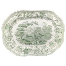 1835 ~ Ass, Lion, and Cock Staffordshire Green Platter ~ Aesop's Fables