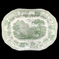 1835 ~ Mountains in Labour Staffordshire Green Platter ~ Aesop's Fables