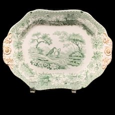 1835 ~ Crow and Pitcher Staffordshire Green Platter ~ Aesop's Fables