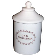 English Brown Transferware Mogadon Pill Pot Box