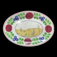 Stick Spatter Rabbitware Frog Ironstone PLATTER ~  c 1900