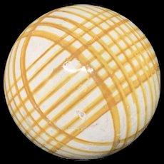 Victorian Ceramic Yellow Gold Striped Scottish Carpet Ball 1860