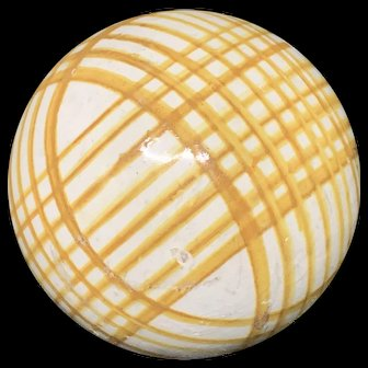 Victorian Ceramic Yellow Gold Striped Scottish Carpet Ball 1860