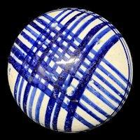 Victorian Ceramic Dark Blue Striped Scottish Carpet Ball 1860