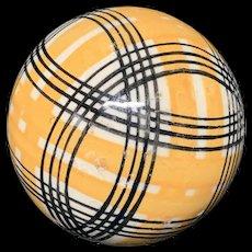 Victorian Ceramic Golden Striped Scottish Carpet Ball 1860