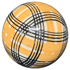 Victorian Ceramic Golden Striped Scottish Carpet Ball 1860