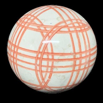 Victorian Ceramic Orange Striped Scottish Carpet Ball 1860