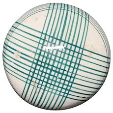 Victorian Ceramic Green Striped Scottish Carpet Ball 1860