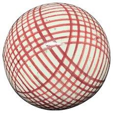 Victorian Ceramic Red Striped Scottish Carpet Ball 1860