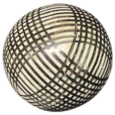 Victorian Ceramic Black Striped Scottish Carpet Ball 1860