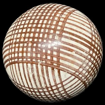 Victorian Ceramic Brown Striped Scottish Carpet Ball 1860