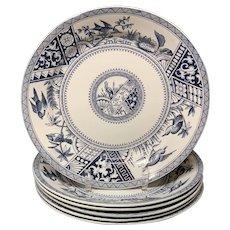 Six Large Aesthetic Blue Transferware Plates ~ CONGO 1883
