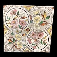 English Brown Transferware Polychrome  Tile ~ 1885