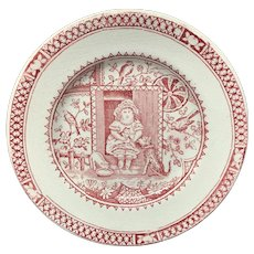 Antique Childs Plate ~ Aesthetic Transferware Plate ~ Little Girl Pets Cats Dog ~ 1890