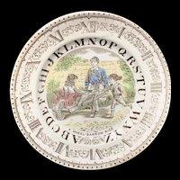 English Alphabet Plate ~ Clock ~ A Wheel-Barrow Ride 1880