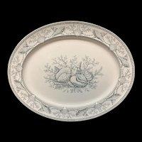 Best Black Transferware NANTASKET Platter ~ Seaweed Seashells 1876