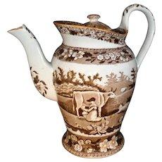MILKMAID Staffordshire Brown Bachelor Coffee Pot ~ Davenport COWS c1840 Pearlware Teapot