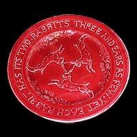 Rare Sarreguemines Majolica Oxblood Rabbits & Rhyme Plate c1912