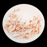 Staffordshire  Allegorical Cabinet Plate ~ Fairy Elf Bee Attack c1880