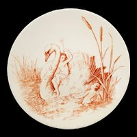 Staffordshire  Allegorical Cabinet Plate ~ Captivated Elf Fairy Princess Swan c1880