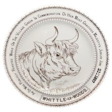English Ironstone Commemorative Adverting Plate Whittle-le-Woods OX ROAST 1887