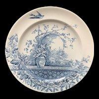 Blue Transferware Victorian Plate ~ Rustic 1886