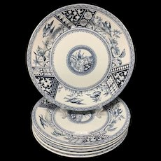 Six Aesthetic Blue Transferware Supper Plates ~ CONGO 1883