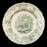 Transferware Plate Fox and Grapes ~ Aesop's Fables 1835 Copeland and Garrett