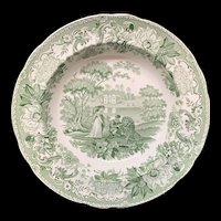 Transferware Deep Soup Plate Lion in Love ~ Aesop's Fables 1835