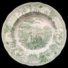 Transferware Deep Soup Plate Lion in Love ~ Aesop's Fables 1835
