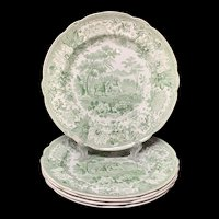 Three Transferware Plates Dog & Sheep ~ Aesop's Fables 1835
