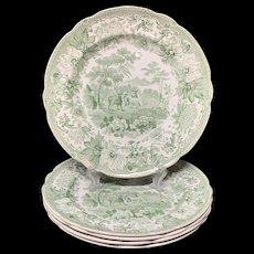 Three Transferware Plates Dog & Sheep ~ Aesop's Fables 1835