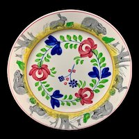 c 1900 ~ Spongeware Rabbitware Ironstone Plate ~ Adams Rose