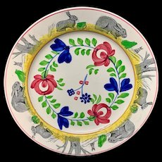 c 1900 ~ Spongeware Rabbitware Ironstone Plate ~ Adams Rose