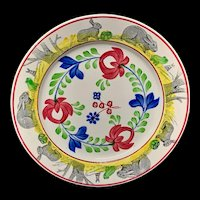 c 1900 ~ Stick Spatter Rabbitware Ironstone Plate ~ Adams Rose