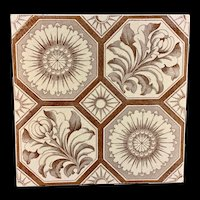 Aesthetic Transferware Tile ~ Chrysanthemum Buds ~ 1885