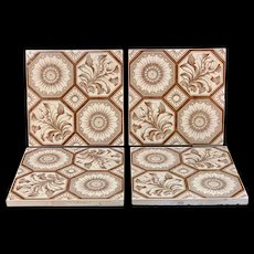 Four Aesthetic Transferware Tiles ~ Chrysanthemum Buds ~ 1885