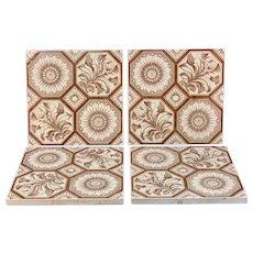 Four Aesthetic Transferware Tiles ~ Chrysanthemum Buds ~ 1885