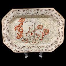 Hummingbird Brown Transfer English Platter ~ Devonshire ~ 1884
