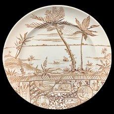 Scarce Aesthetic Movement Large Plate ~ Robinson Crusoe 1881