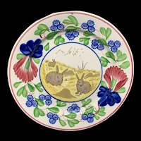 Virginia Rose Pattern ~ Spongeware Rabbitware Ironstone Plate c1900