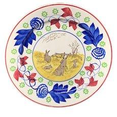 Bulls Eye Pattern ~ Spongeware Rabbitware Ironstone Plate ~ c1900