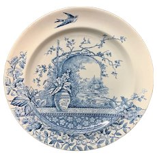 Blue Transferware Victorian Staffordshire Plate ~ Rustic 1886