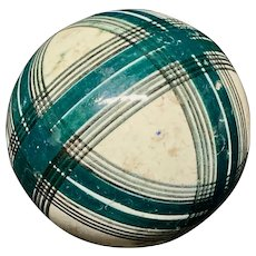 Victorian Green & Black Striped Scottish Carpet Ball 1860