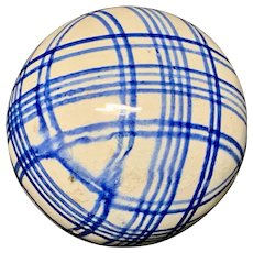 Victorian Blue Striped Scottish Carpet Ball 1860