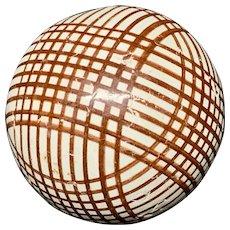 Victorian Brown Striped Scottish Carpet Ball 1860