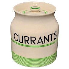 Cornishware Banded Kleen Kitchen Ware Storage Jar ~ CURRANTS ~ c 1940