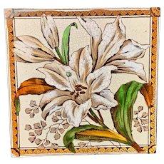 Victorian Transferware Tile ~ White Lilles 1885