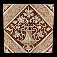 Brown Transferware English Tile ~ Classical 1885